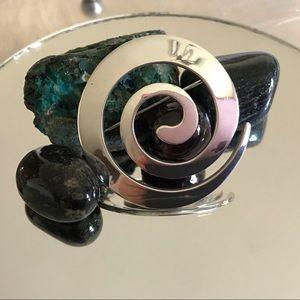 Sterling Silver 925 Spiral Round Circle Brooch